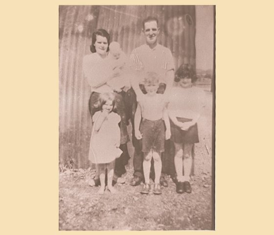 the friel family,Paddy, his wife Cassie Children Pauline, Dan, Maryann and baby Kathleen taken in 1947