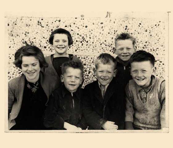 Wilkinson family, back row,Annie and Stevie,front row,Mary Eamon Hughie Brendy