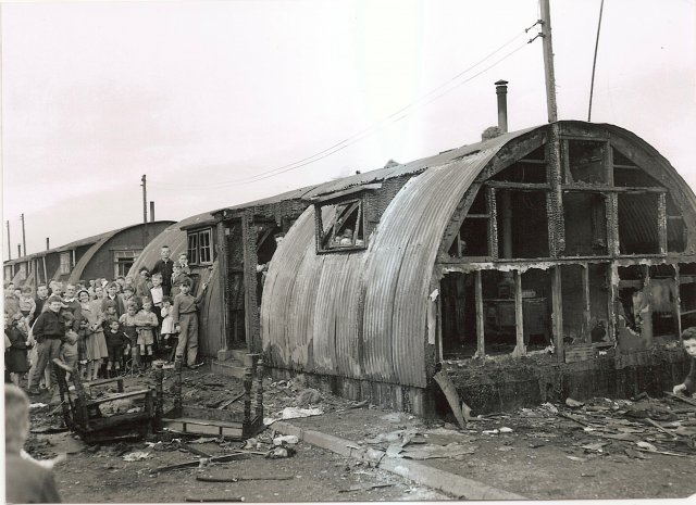 The remains of the Doherty family hut ater a fire in 31st Oct.1959 included Billy Mc Laughlin,Harry Feeny,Willie Mc Connell,Stevie Wilkinson,Tommy Rankin,Florrie Divin,Mary Edgar,Philip Killen